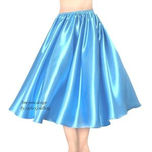 Turquoise Satin Skirt Mid-Calf All Sizes available